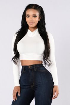 - Available in White, Mocha and Black - Mock Neck - Long Sleeve - Cropped - 96% Polyester, 4% Spandex