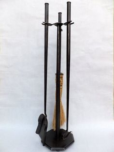 Hand Forged Wrought Iron Fireplace Tool set-w/vine texture ...