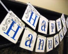 HAPPY HANUKKAH Banner sign garland decoration