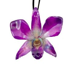Real Orchids Preserved in Resin- Purple Dendorbium Necklace / Brooch $45