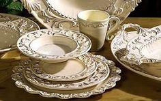 Tuscan Baroque Dinnerware 16 pc. Set Cream