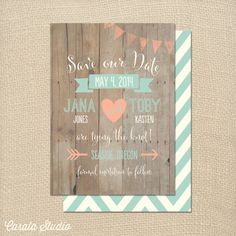 Whimsical Rustic Wood Mint and Peach Save the Date by casalastudio
