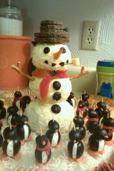 Cheese ball snowman and penguins I made for my son's Christmas program.