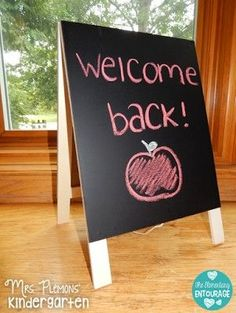 Thrifty Teacher finds from the Target Dollar Spot: Adorable chalkboard/dry erase easel perfect for Back to school night or center signs!