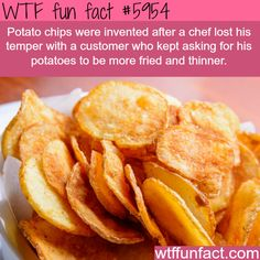 WTF Fun Facts is updated daily with interesting & funny random facts. We post about health, celebs/people, places, animals, history information and much more. New facts all day - every day! Potato Meme, Potato Funny, Potato Chips, Wtf Fun Facts, True Facts, Funny Facts, Crazy Facts, Random Facts, Random Stuff