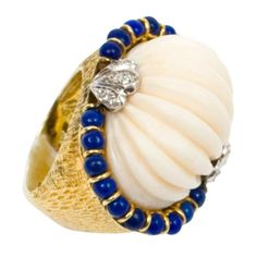 Angelskin Coral, Lapis and Diamond Ring, 1970