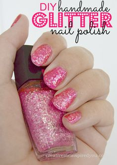 DIY Handmade Glitter Nail Polish- Creative Me Inspired You nailpolish, prom nails, homecoming nails, glitter nails, chic nails, simple nails, beginner nails, diy nails, cheap nails, salon like nails, pamper yourself, wedding nails, date night nails, girl night out nails, last a long time nails, last all month nails, wearproof nails, wearproof nailpolish, school nails, daily nails, daily nailpolish, girly nails, girly nailpolish, diy craft, teen craft, tween craft, young adult craft,