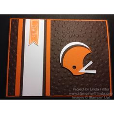 Cleveland Browns Football Helmet Hello Card Using Stampin' Up! Punches and Perfect Pennant Stamp Set/ www.stampinwithlinda.com