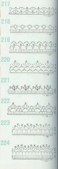 from 262 Patrones de crochet by faye Crochet Boarders, Crochet Edging Patterns, Crochet Lace Edging, Crochet Motifs, Crochet Diagram, Crochet Chart, Crochet Trim, Crochet Designs, Crochet Doilies