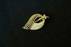Coro Leaf Brooch with Rhinestones Gold Tone by MargsMostlyVintage, $12.95
