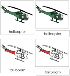 Helicopter Nomenclature Cards: 11 parts of the helicopter (nomenclature in red) in card format. Printable Montessori nomenclature cards and books for children by Montessori Print Shop. Tails Boom, Transportation Theme, Card Book, Montessori Materials, Home Learning, Card Patterns, Preschool Worksheets, Teacher Resources, Praying Mantis
