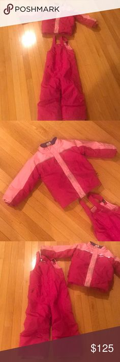 Patagonia snow suit Still in great shape my little daughter did enjoy it for couple years because it's adjustable and I wish it still fit her we could use it for many more years lol 😂. Anyway I tried to catch some dirty spots with my camera and that's all. Tried to clean it but I didn't want to get too hard on it. It will fit from 3T to 5 or 6T if you have a petite girl. I paid full price and it was over 300. Patagonia Jackets & Coats Puffers