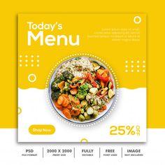 Menu square banner template | Premium Psd #Freepik #psd #banner #food #menu #sale Social Design, Web Design, Food Menu Design, Food Poster Design, Food Template, Banner Template, Templates, Food Branding, Identity Branding