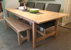 If space is tight around your dining table, a bench might be a good fit! The NORDEN bench is a sturdy choice for a growing family, and tucks underneath the table when not in use.