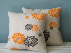 orange & grey pillows