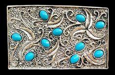 Flower Turquoise Stone Blue Native Indian Art Belt Buckle Buckles Cool Belt Buckles, Western Belt Buckles, Western Belts, Native Indian, Indian Art, Turquoise Color, Turquoise Stone, Flower Belt, Turquoise Bracelet