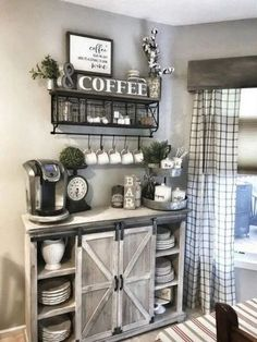Home Remodeling Living Room 45 Best Farmhouse Living Room Makeover Decor Ideas Coffee Bar Home, Home Coffee Stations, Coffee Bar Ideas, Coffee Corner, Coffee Bar Design, Coffee Nook, Coffee Station Kitchen, Coffee Themed Kitchen, Coffee Bar Station