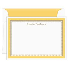 Citron Yellow Border Flat Note Cards by Atelier de Papier
