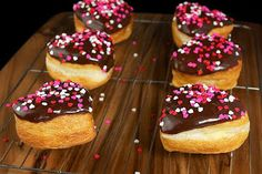 Heart Shaped Boston Cream Filled Donuts with Chocolate Glaze