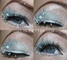 2015 Halloween crystal frozen Elsa eye makeup - blue, bling, glitter