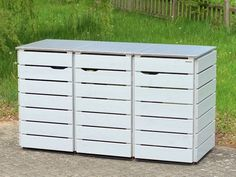 3er Mülltonnenbox Edelstahl / Holz - Deckel, für 120 L & 240 L Mülltonnen, Oberfläche: Deckend Geölt Lichtgrau