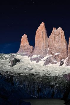 Twilight shot of Torres del Paine, Chile