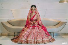 Priyanca + Atishay | Indian wedding - Red Bridal Lehenga | Think Shaadi