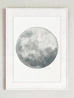 Moon Phases 5 Watercolor Prints Set Full Moon Painting Grey