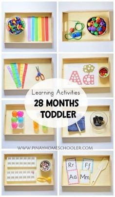Learning Activities for 28 Months Toddler - Montessori , Learning Activities for 28 Months Toddler Learning activity trays for toddler Montessori & co. Montessori Trays, Montessori Preschool, Toddler Preschool, Montessori Bedroom, Toddler Activities For Daycare, Montessori Toddler Rooms, Toddler Classroom, Free Preschool, Maria Montessori