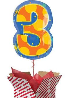 Confetti Dots Number 3 Balloon - Helium Filled
