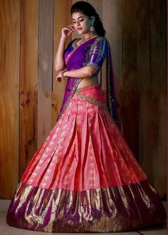 Sale today and tomorrow only! Upto discount at weavers price on pure kanchipattu sarees! For more information contact… Lehenga Saree Design, Half Saree Lehenga, Pattu Saree Blouse Designs, Lehenga Designs, Lehnga Dress, Lehenga Skirt, Kids Lehenga, Lehenga Blouse, Indian Bridal Sarees