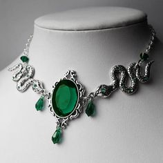Emerald Slytherin Inspired Python's Kiss Necklace