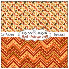 50% OFF TODAY Red Orange Fall Digital Papers by DigiScrapDelights
