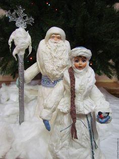 Купить Мороз и Снегурочка под ёлку, большие, из ваты - белый, Новый Год, елка