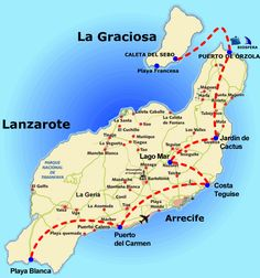 Map that shows Lanzarote and La Graciosa Island, Canary Islands