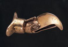 Mixtec Gold Artifacts - beak bird lip plug