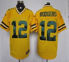 Nike Packers #12 Aaron Rodgers Yellow Alternate Men's Embroidered NFL Elite Jersey @Emillia Kelly