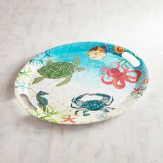 Pier 1 Imports Speedy & Friends Oval Melamine Serving Tray ($20) ❤ liked on Polyvore featuring home, kitchen & dining, serveware, melamine serving tray, oval tray, pier 1 imports, melamine serveware and melamine tray