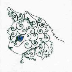 "Here's another free embroidery design from Design by Sick's ""Swirly Cat""…"