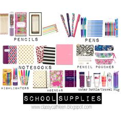 school supplies by classycathleen on Polyvore featuring moda, Vera Bradley, Kate Spade, Lilly Pulitzer, Jonathan Adler and Tervis