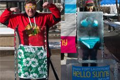 """To entice Chicagoans to visit Florida this winter, Greater Fort Lauderdale hosted a warm-weather-themed pop-up promotion on Pioneer Court Plaza in February. Called """"Hello Sunny,"""" the event allowed guests to pose behind swim trunks and bikinis frozen in blocks of ice. The quirky sculptures played off of the Greater Fort Lauderdale Convention and Tourism Bureau's """"Defrost Your Swimsuit"""" campaign."""