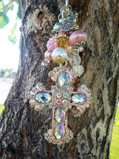 Betsey Johnson Cross Rear View Mirror and Purse Charm, Key Chain Bling Ornament and Accessory by LuckyHorseLove on Etsy