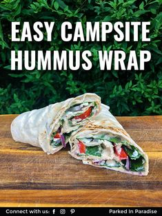 The perfect backpacking lunch recipe is a simple hummus wrap. Vegetarian ingredients make it easy to store and prepare in an rv or on a camping trip. Camping Recipes, Camping Meals, Lunch Recipes, Vegetarian Camping, Vegetarian Wraps, Pita Wrap, Hummus Wrap, Sweet Potato Hummus, Plant Based Protein
