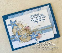 Thinking Stamping: Friends are Like Seashells for Fab Friday 205 Friends Are Like, Cards For Friends, Friend Cards, Hand Made Greeting Cards, Making Greeting Cards, Nautical Cards, Beach Cards, Holiday Break, Basic Grey