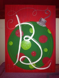 Hand-painted 2014 Christmas Ornament Canvas Panel paintings - 2014 Christmas polka dots decorations.