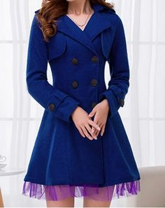 Vintage Turn-Down Collar Long Sleeves Double Breasted Voile Splicing Woolen Coat For Women $54.78