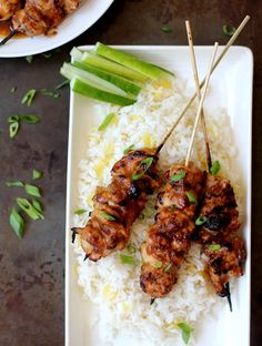 These addictive chicken skewers have that sweet, spicy, sticky quality of chicken wings but are so much easier to eat.