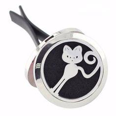 Aromatherapy Curious Cat Car Diffuser Locket