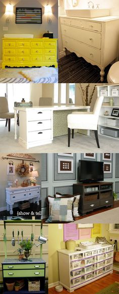 DIY repurposed dressers. TWELVE different ideas!.... Turn a dresser into a bookshelf, a changing table, an entertainment system, a sink, a garden potting bench, a desk, an entry table, a garden, scraproom storage shelves, a bench, a kitchen island, and #12 you'll just have to click through and see for yourself!!!