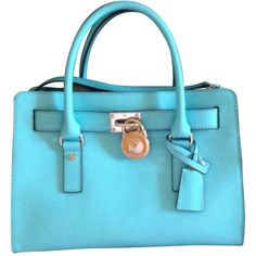 Pre-owned Michael Kors Hamilton Ew Aquamarine Satchel ($208) ❤ liked on Polyvore featuring bags, handbags, aquamarine, preowned handbags, michael kors bags, blue satchel handbags, print purse and satchel purse